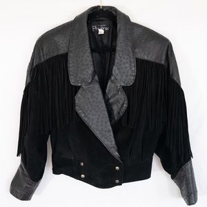 Vintage Western Fringe Leather Jacket
